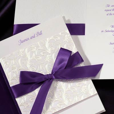 Pittsburghs place for wedding invitations steve schwartz associates purple ribbon invitation stopboris Gallery